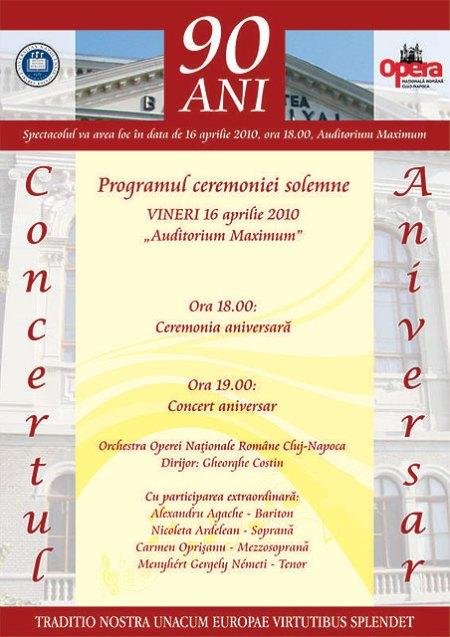 """Afisul ceremoniei solemne si a concertului aniversar """"la 90 de ani"""" a UBB Cluj"""